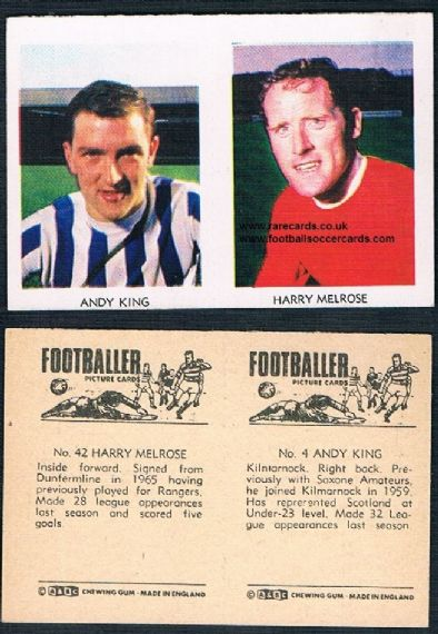 1966 A&BC Scottish pair Aberdeen Dunfermline Rangers 42 Melrose 4 Andy King Kilmarnock